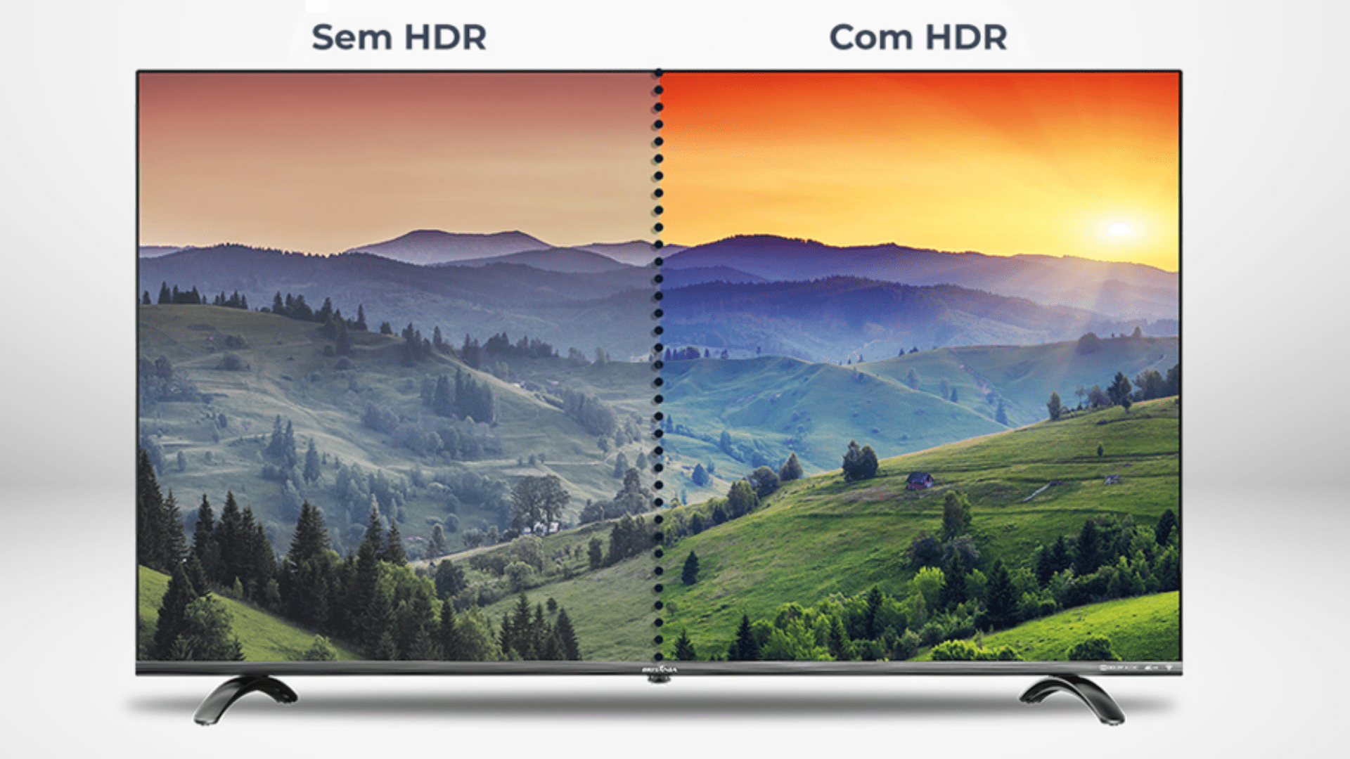 As TVs da Britânia contam com HDR para aperfeiçoar o brilho e contraste das cenas. (Imagem: Divulgação/Britânia)