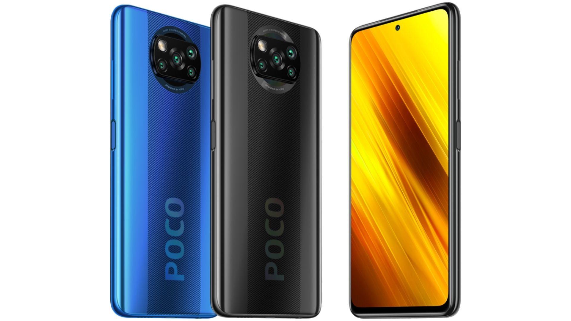Dois modelos do Poco X3 NFC em pé em um fundo branco mostrando a traseira e outro modelo em pé mostrando a frontal