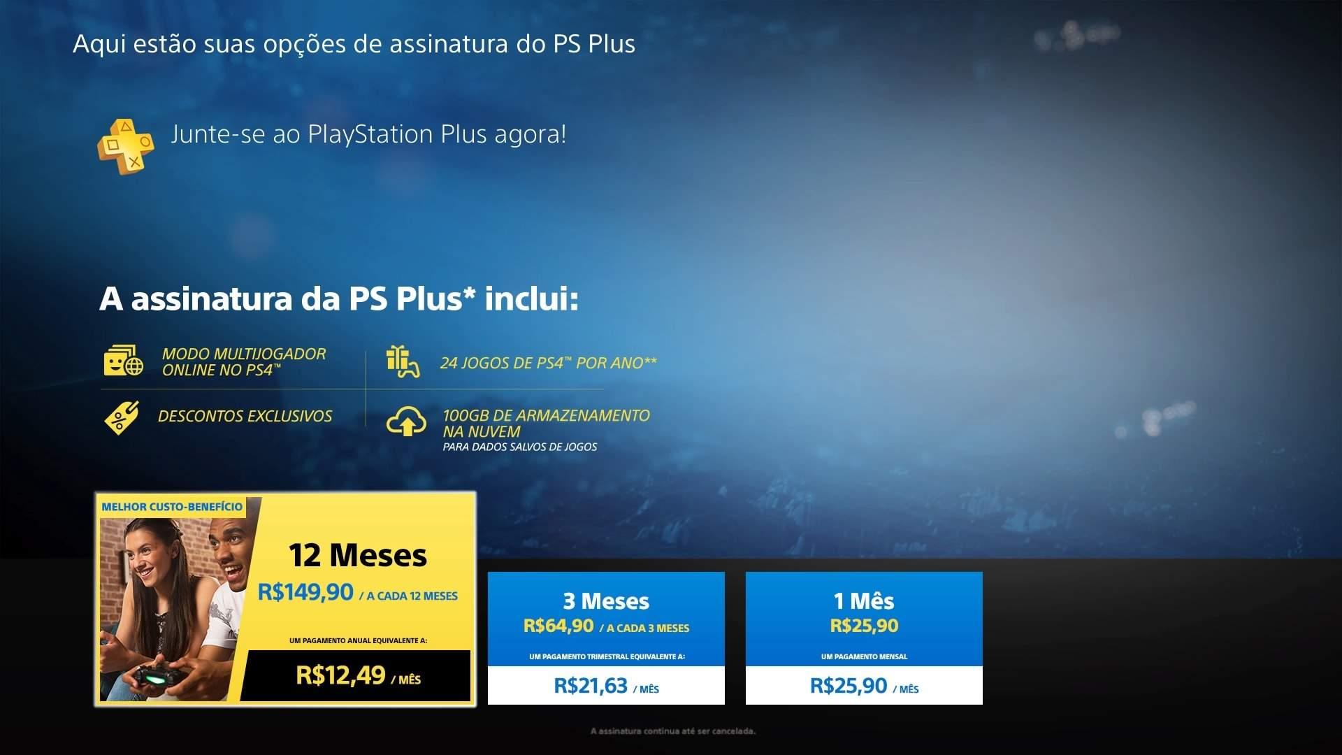 Escolha uma das alternativas de assinatura do PlayStation Plus (Fonte: Reprodução/Thayna Cruz)