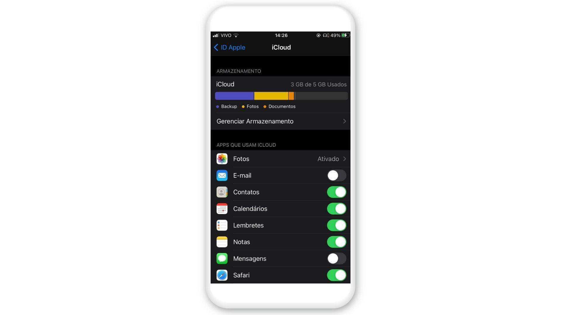"""Como recuperar contatos? Marque o item """"Contatos"""" no menu do iPhone (Foto: Arte/Zoom)"""