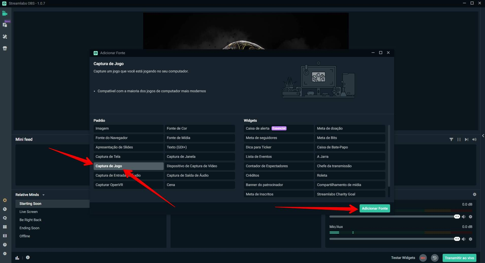 """A opção """"Captura de Jogo"""" do Streamlabs indica que aquela fonte é o jogo que deverá ser transmitido (Foto: Reprodução/Filipe Salles)"""