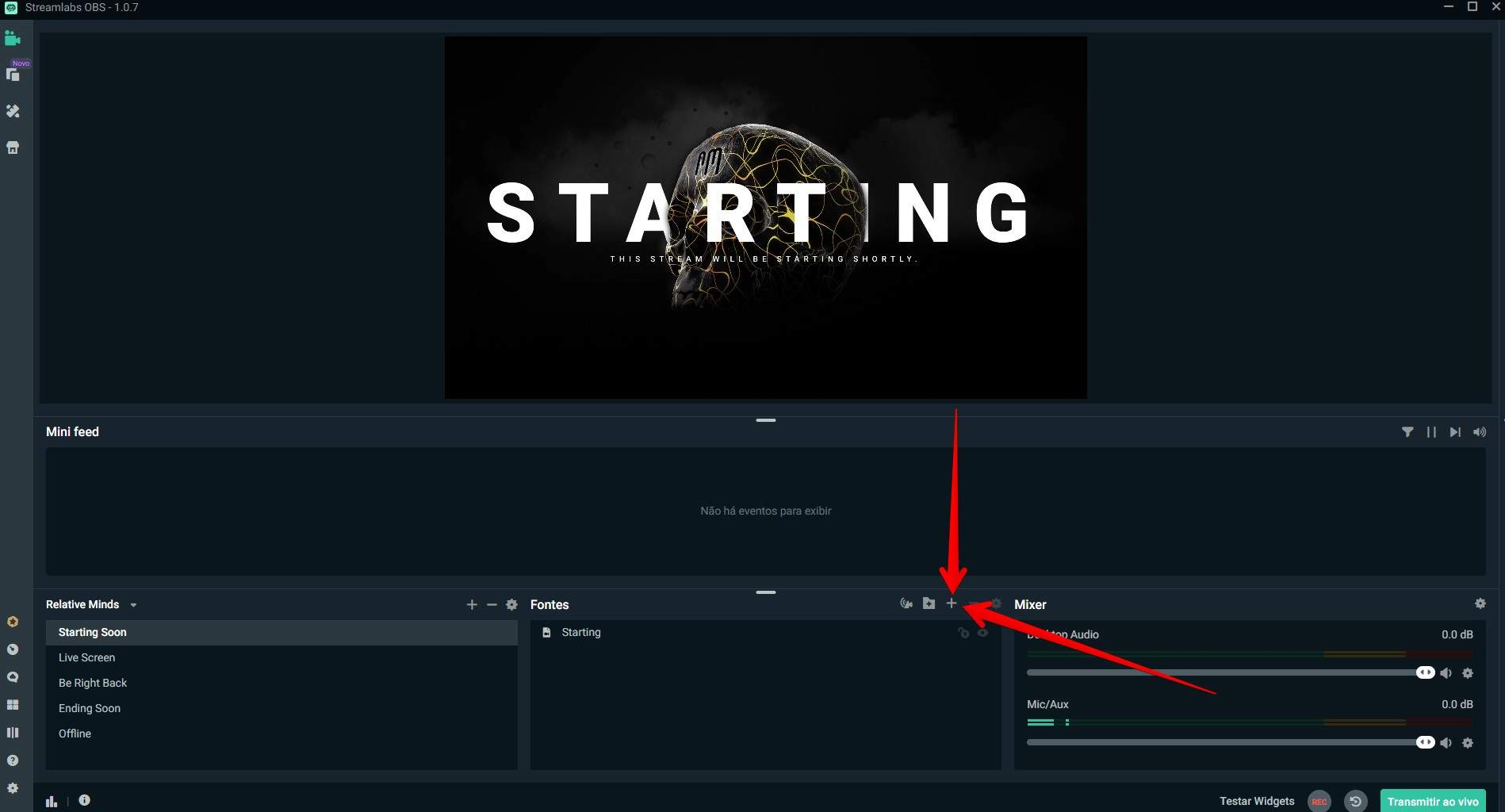 Adicione uma fonte para que o Streamlabs saiba por onde o seu jogo estará sendo transmitido (Foto: Reprodução/Filipe Salles)