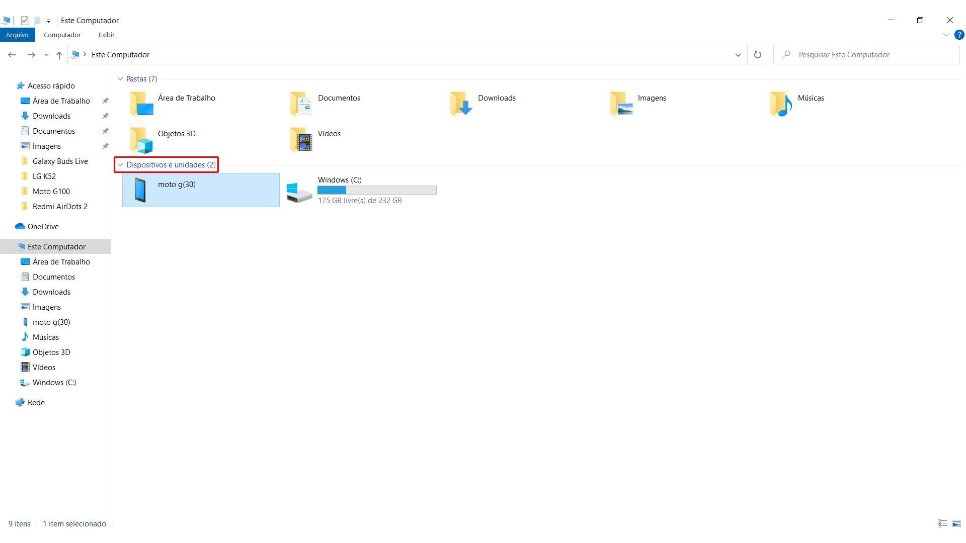 Como transferir arquivos do celular para o PC? Selecione a pasta correspondente no computador (Foto: Reprodução/Zoom)
