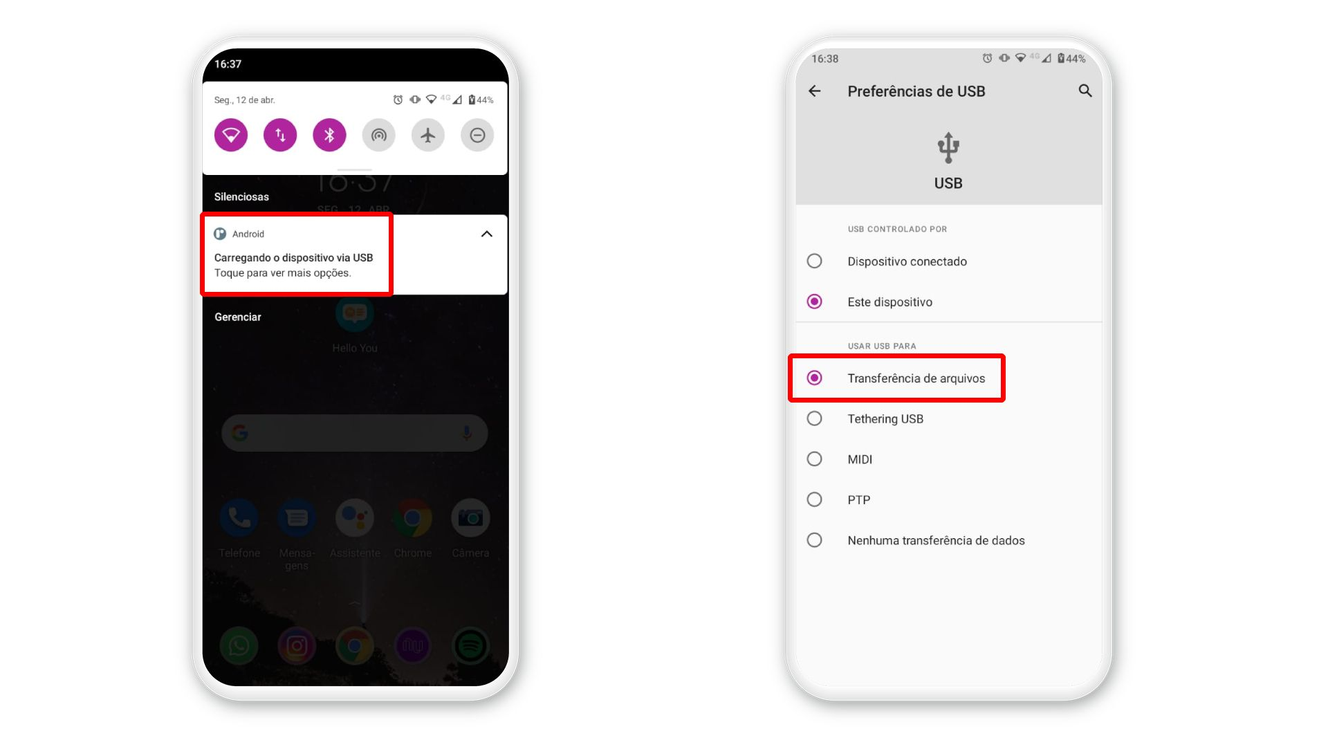 Como transferir arquivos do celular para o PC? Conecte o smartphone e selecione a opção de transferência de arquivos (Foto: Arte/Zoom)