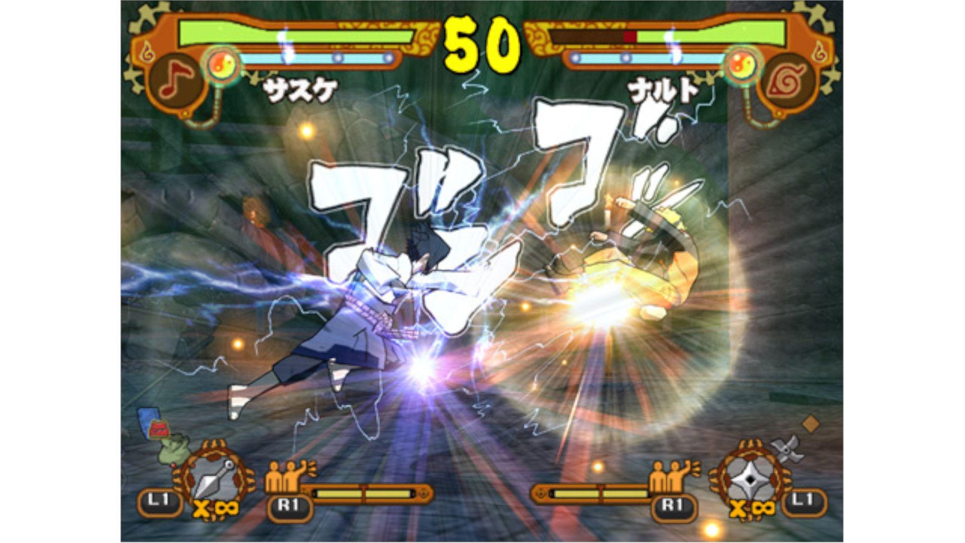 Naruto Shippuden: Ultimate Ninja 5 é o jogo de PS2 que acompanha a saga do resgate do Kazekage e do reencontro com Sasuke (Foto: Divulgação/PlayStation)