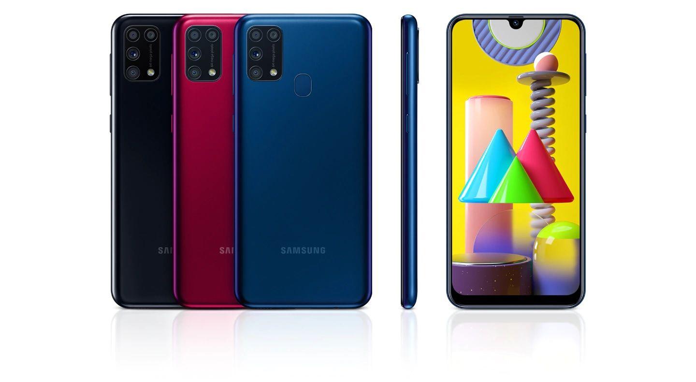 Galaxy M31 vs A71: O M31 é vendido nas cores preto, azul e vermelho. (Foto: Divulgação/Samsung)