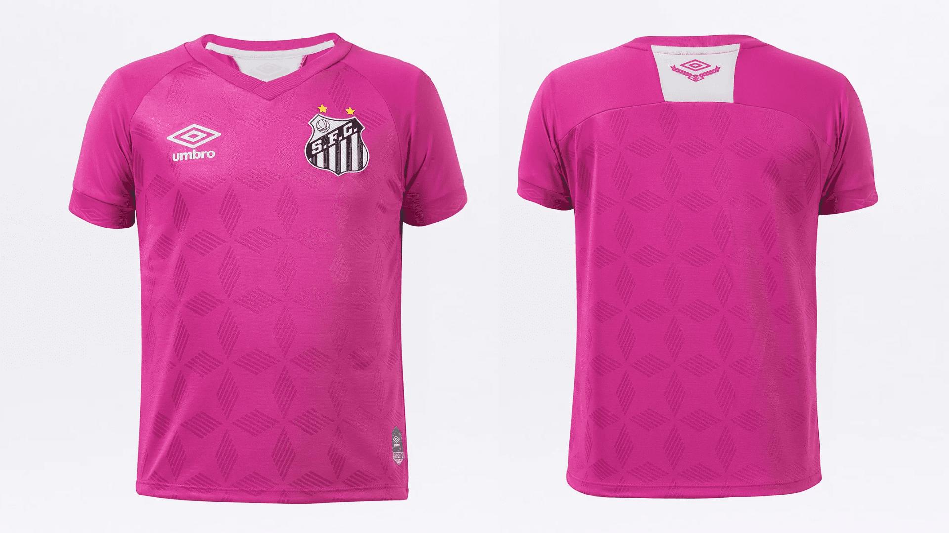 Camisa do Santos 2020 Umbro Outubro Rosa (Imagem: Divulgação/Umbro)