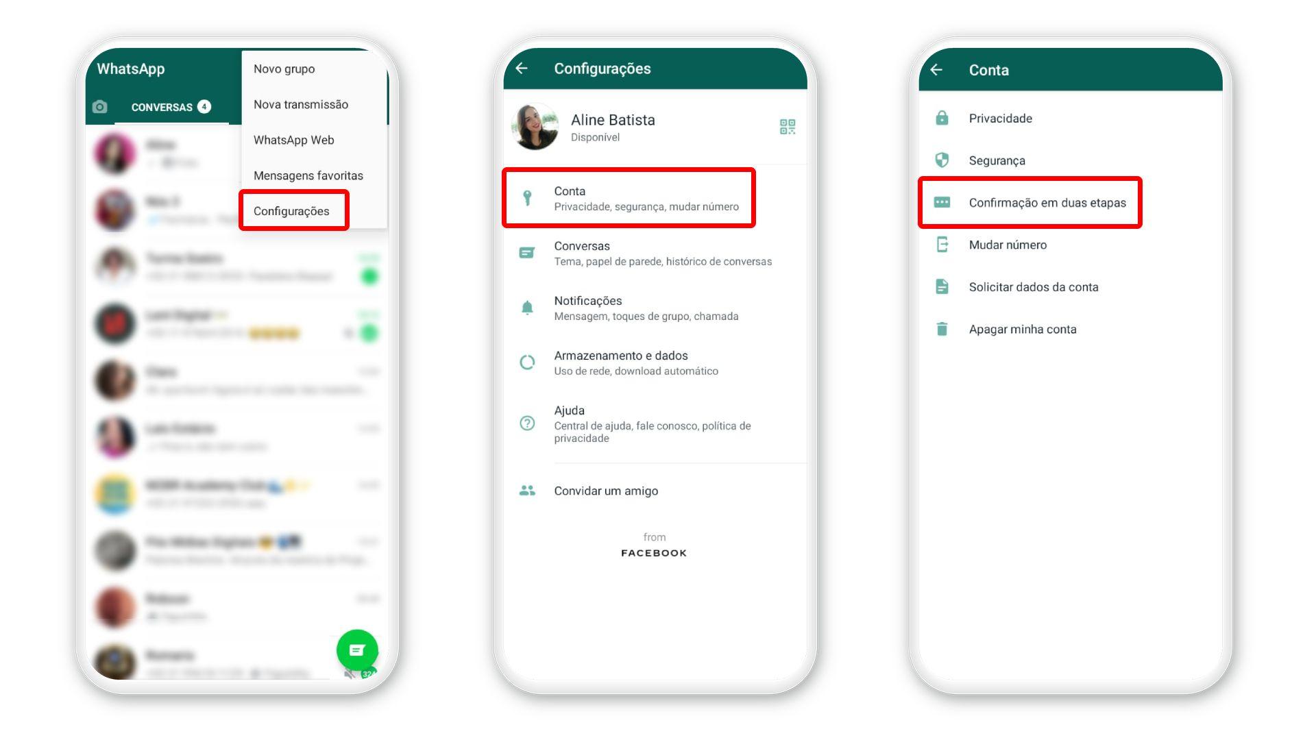Como colocar senha no WhatsApp: acesse recurso de confirmação em duas etapas (Foto: Arte/Zoom)