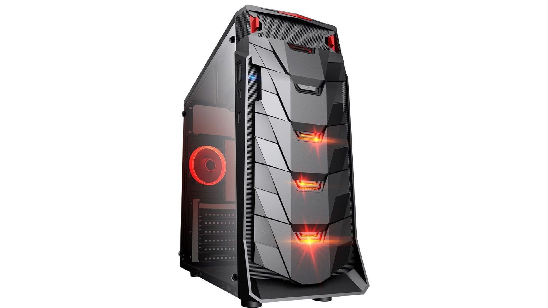 O Gabinete gamer Taurus MyMax conta com LEDs vermelhos na estrutura (Foto: Divulgação)