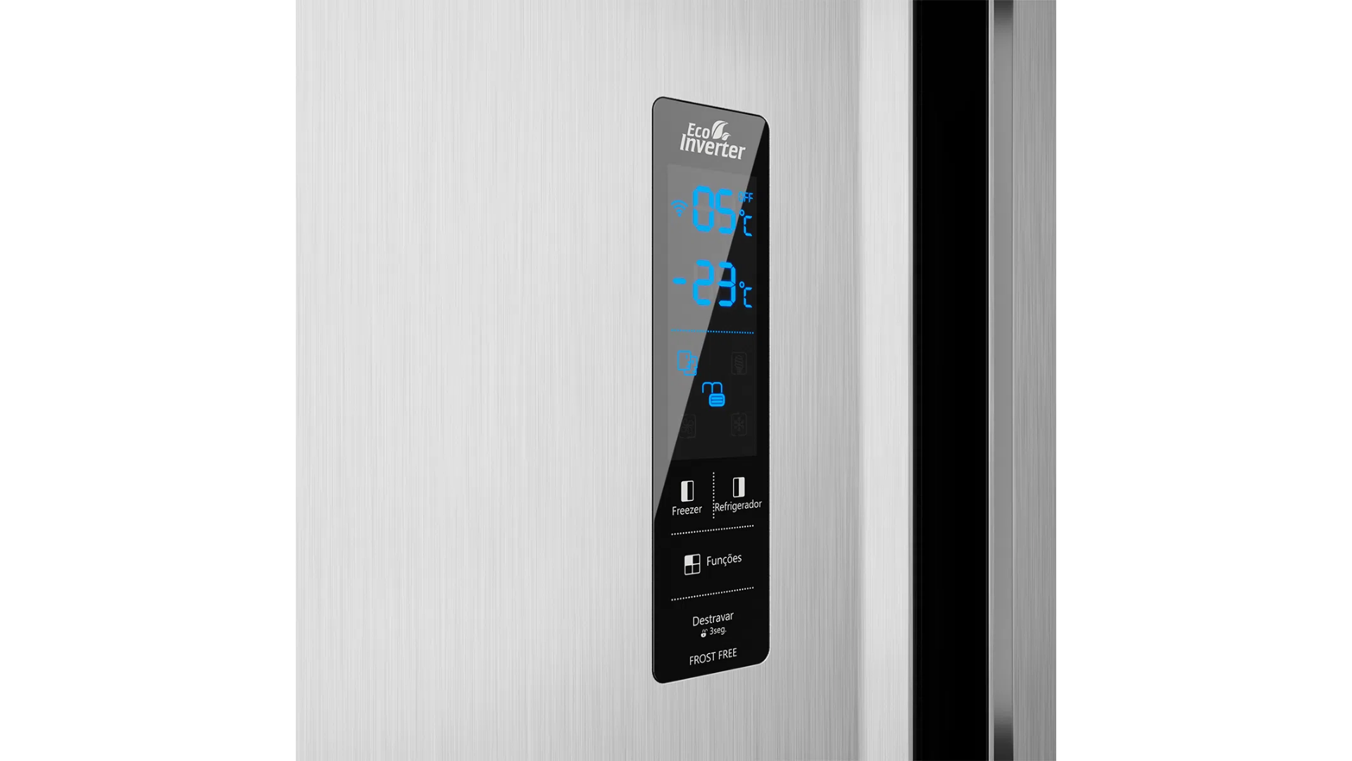 A geladeira da Britânia conta com painel externo para controle de temperatura e demais funções. (Imagem: Divulgação/Britânia)