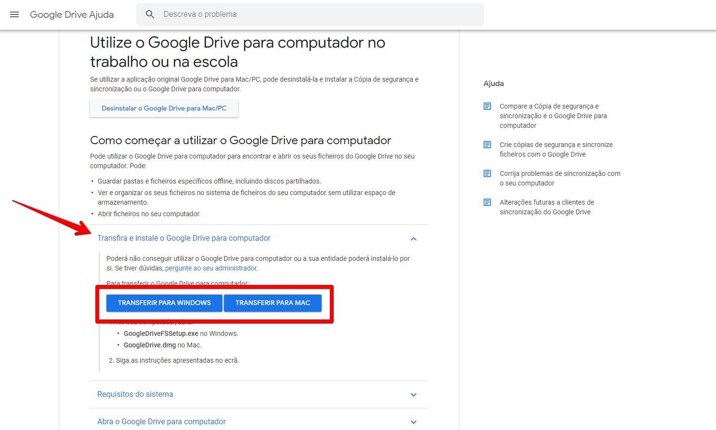 O aplicativo do Google Drive para computador está disponível para o Windows e o Mac (Fonte: Reprodução/Filipe Salles)