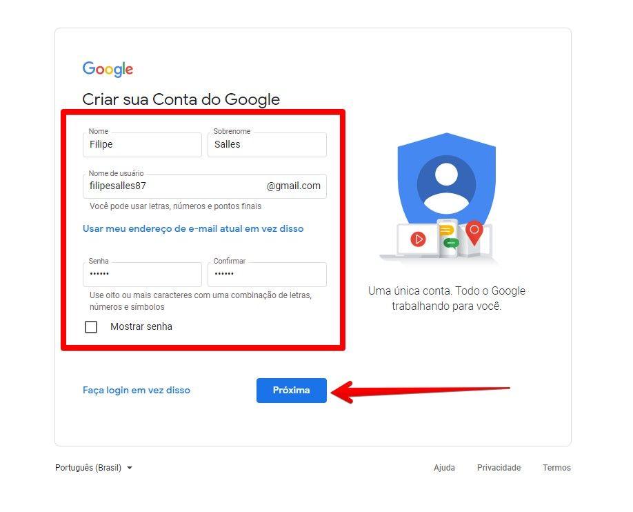 Preencha o formulário para ter uma conta no Google Drive (Fonte: Reprodução/Filipe Salles)