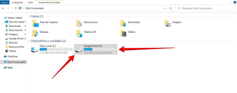 O Google Drive aparecerá como um novo HD, mas isso não significa que sua conta passou a ser de 1TB (Fonte: Reprodução/Filipe Salles)