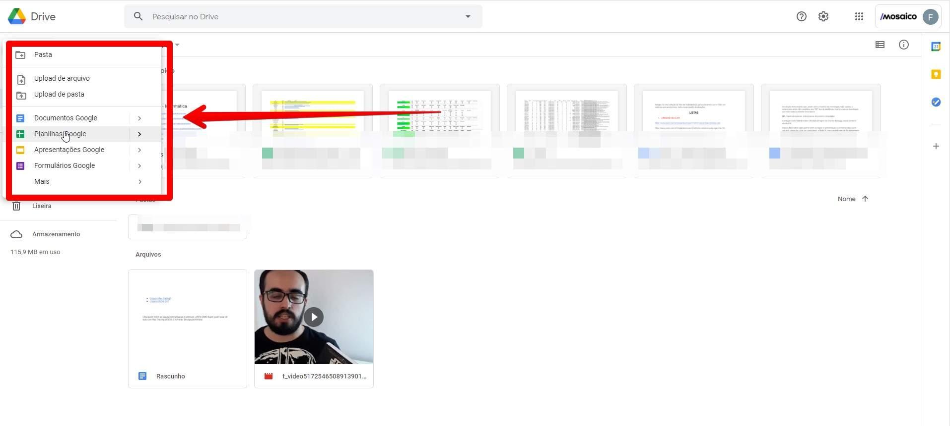 O Google Drive permite criar seus próprios arquivos de texto, planilhas e apresentações sem depender do pacote Office (Fonte: Reprodução/Filipe Salles)