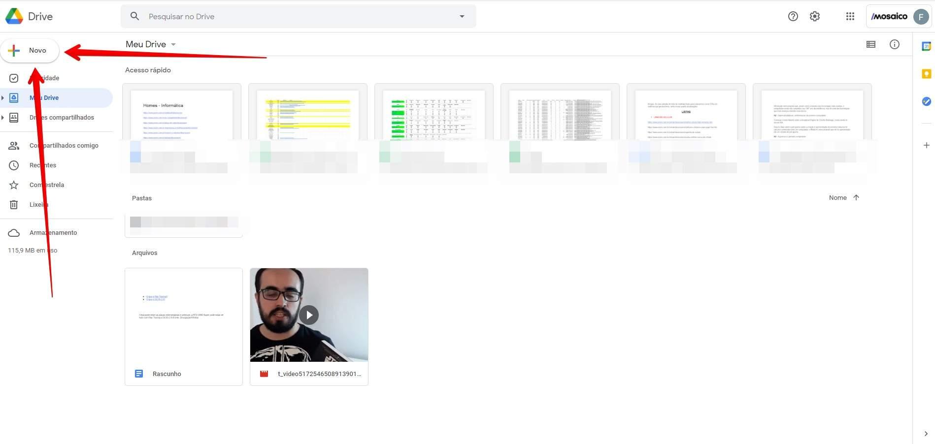 """Clique em """"Novo"""" para criar um documento direto no Google Drive (Fonte: Reprodução/Filipe Salles)"""