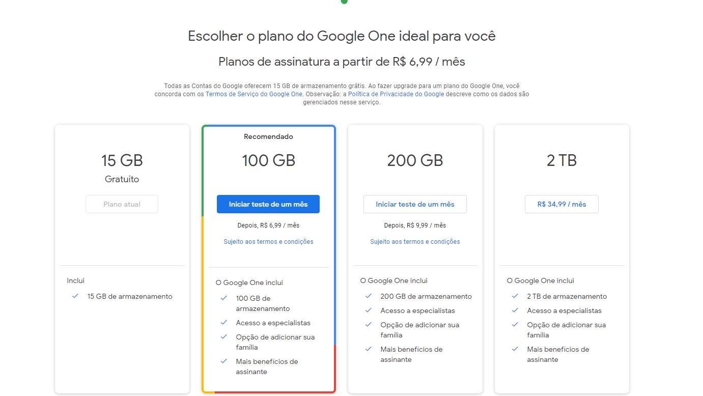 Os planos do Google Drive custam entre R$ 6,99 e R$ 34,99 mensais (Fonte: Divulgação/Google)