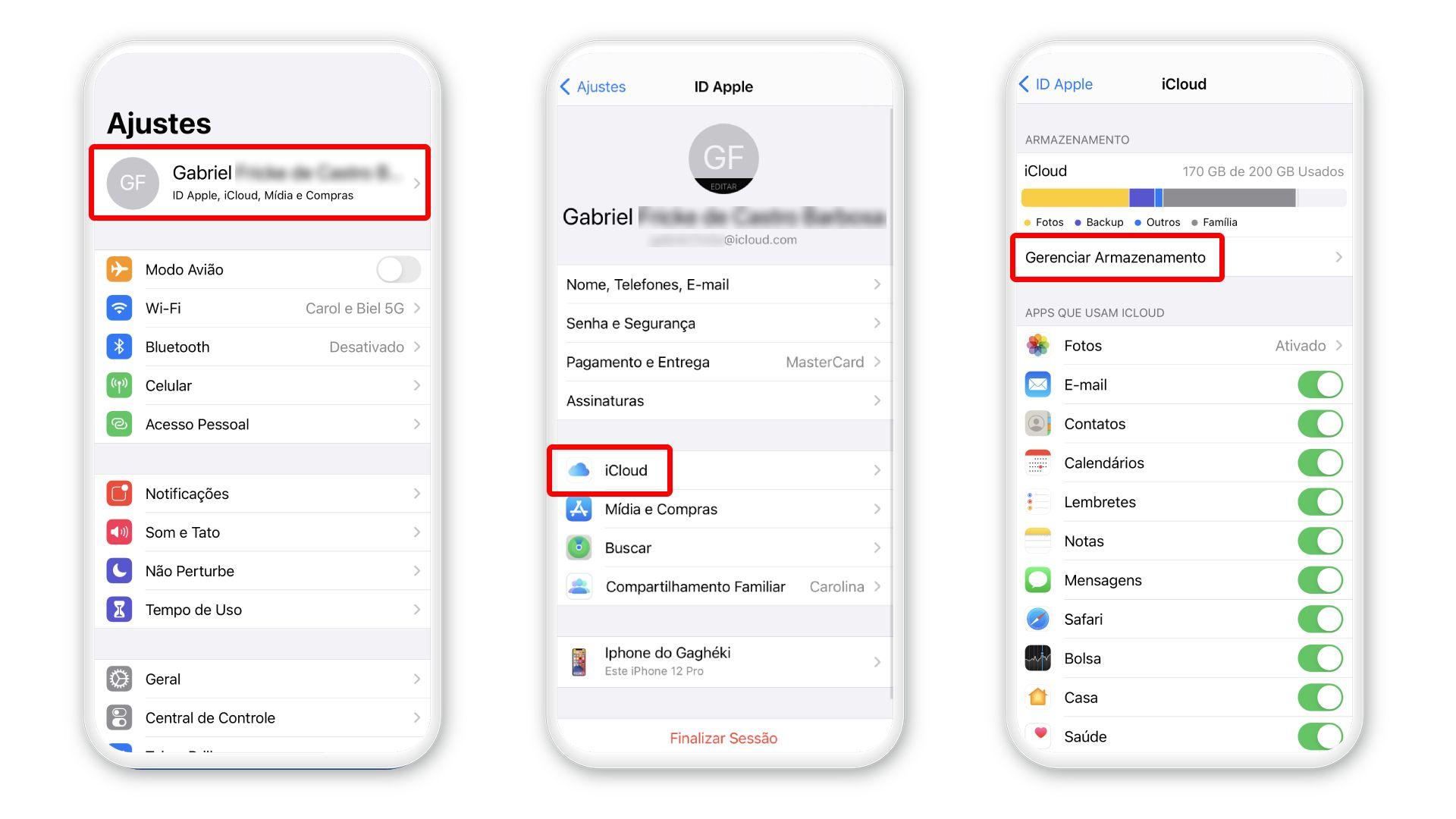Como apagar fotos do iCloud: acesse o recurso de gerenciar armazenamento no iPhone (Foto: Arte/Zoom)