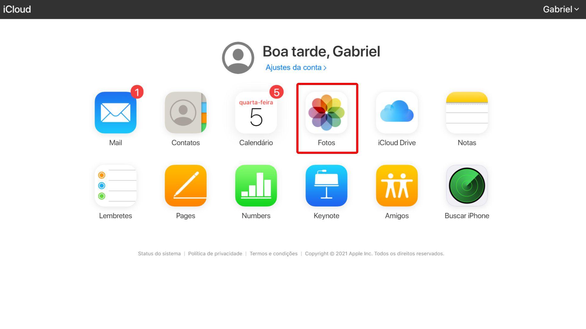 Como apagar fotos do iCloud: selecione a pasta Fotos (Foto: Reprodução/Zoom)
