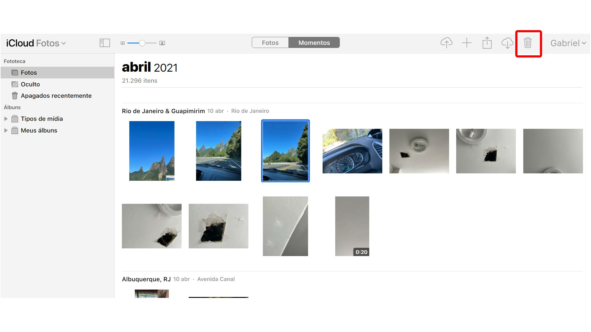 Como apagar fotos do iCloud: escolha as imagens que deseja apagar (Foto: Reprodução/Zoom)