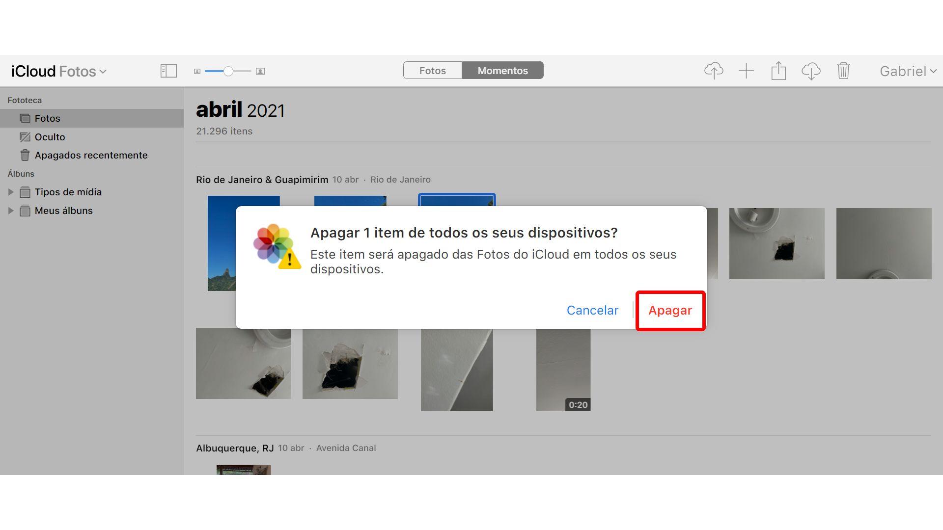 Como apagar fotos do iCloud: confirme a exclusão (Foto: Reprodução/Zoom)