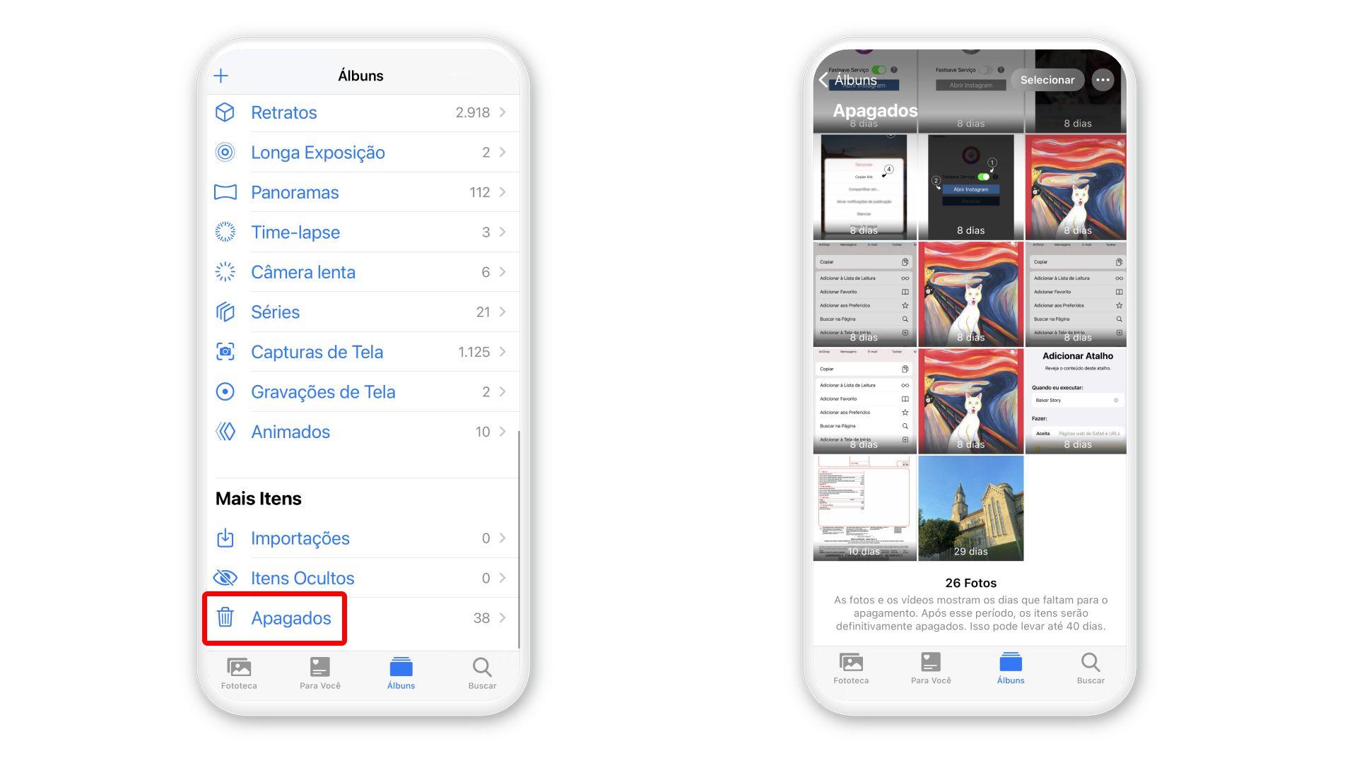 Como apagar fotos do iCloud: iPhone tem pasta com fotos deletadas (Foto: Arte/Zoom)