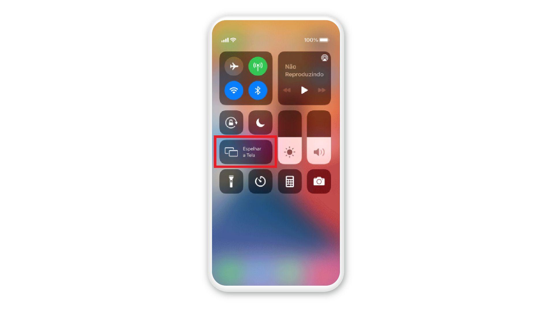 A opção de espelhar tela está disponível no menu de controle do seu iPhone (Reprodução: Apple)