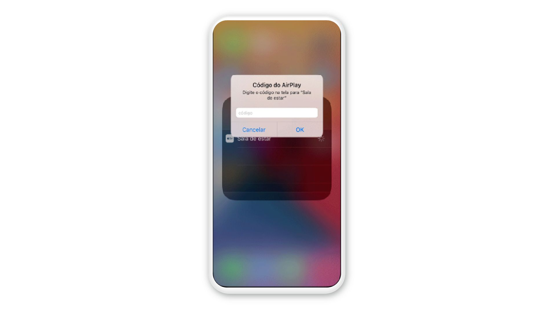 Alguns dispositivos podem solicitar um código de pareamento para espelhar a tela (Reprodução: Apple)