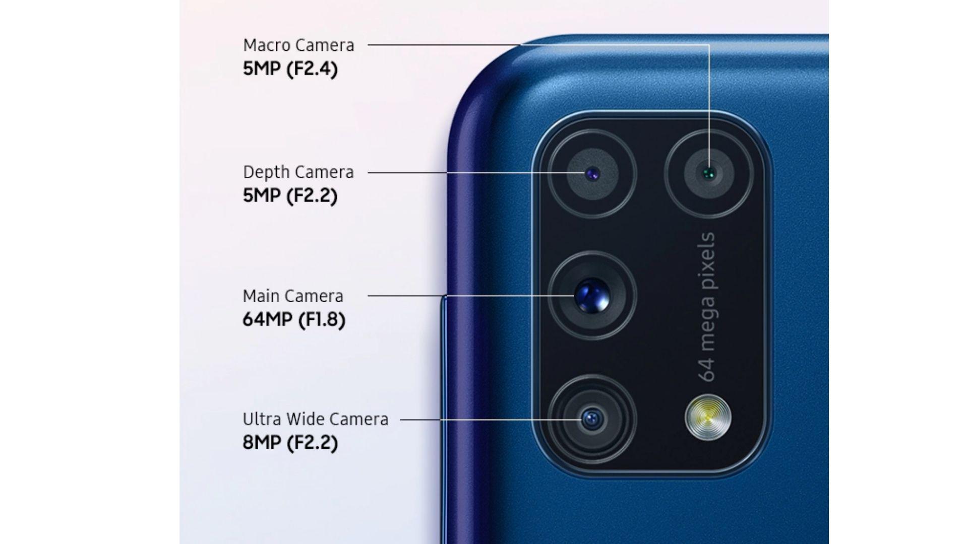 Galaxy M31 vs A71: O M31 é tem conjunto quadruplo de câmeras. (Foto: Divulgação/Samsung)