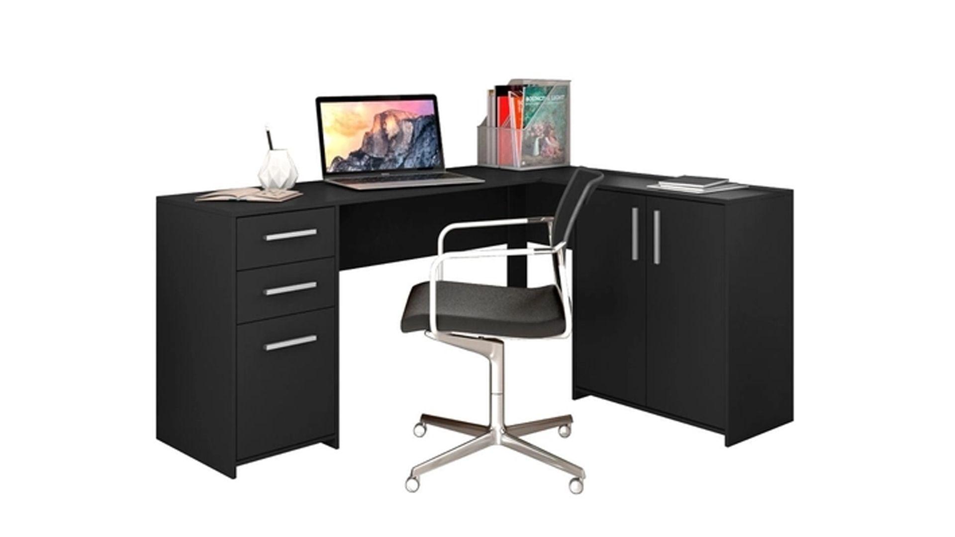 Uma mesa em L que permite uma decoração sofisticada e moderna (Fonte: Reprodução)
