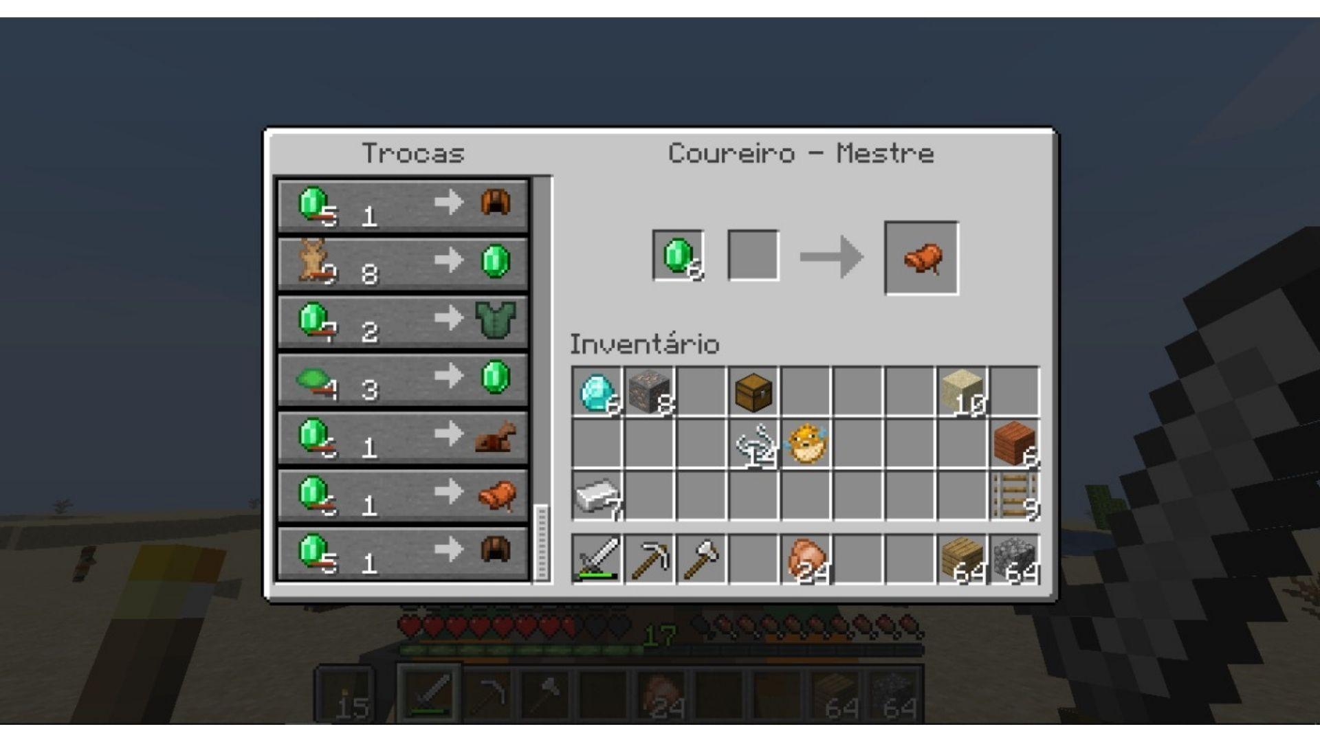Uma das formas de conseguir uma sela para cavalo no Minecraft é comprando com esmeraldas (Foto: Reprodução/Úrsula Gomes)