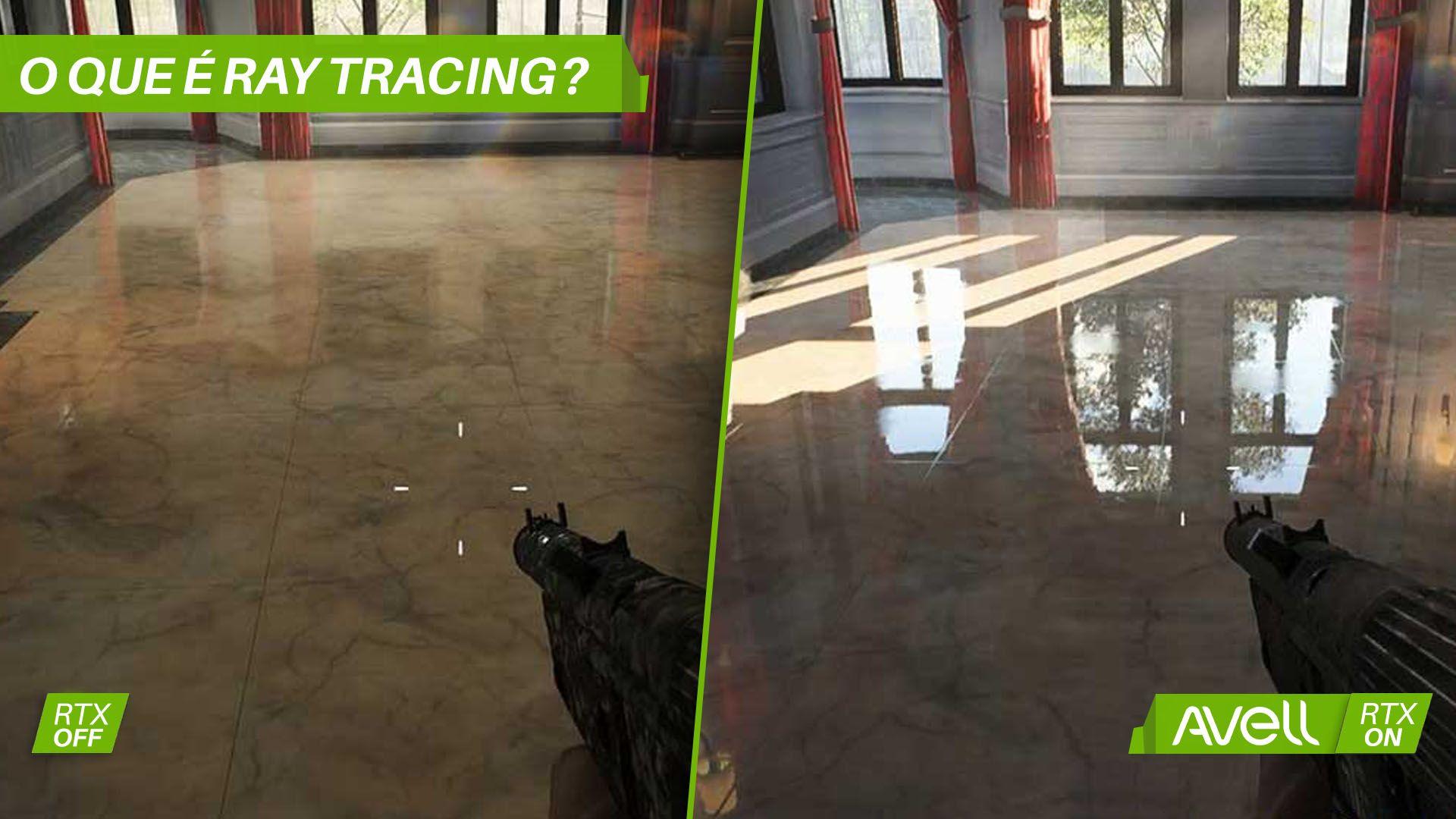 Diferença de uma imagem com e sem o efeito de Ray Tracing (Foto: Divulgação/Avell)