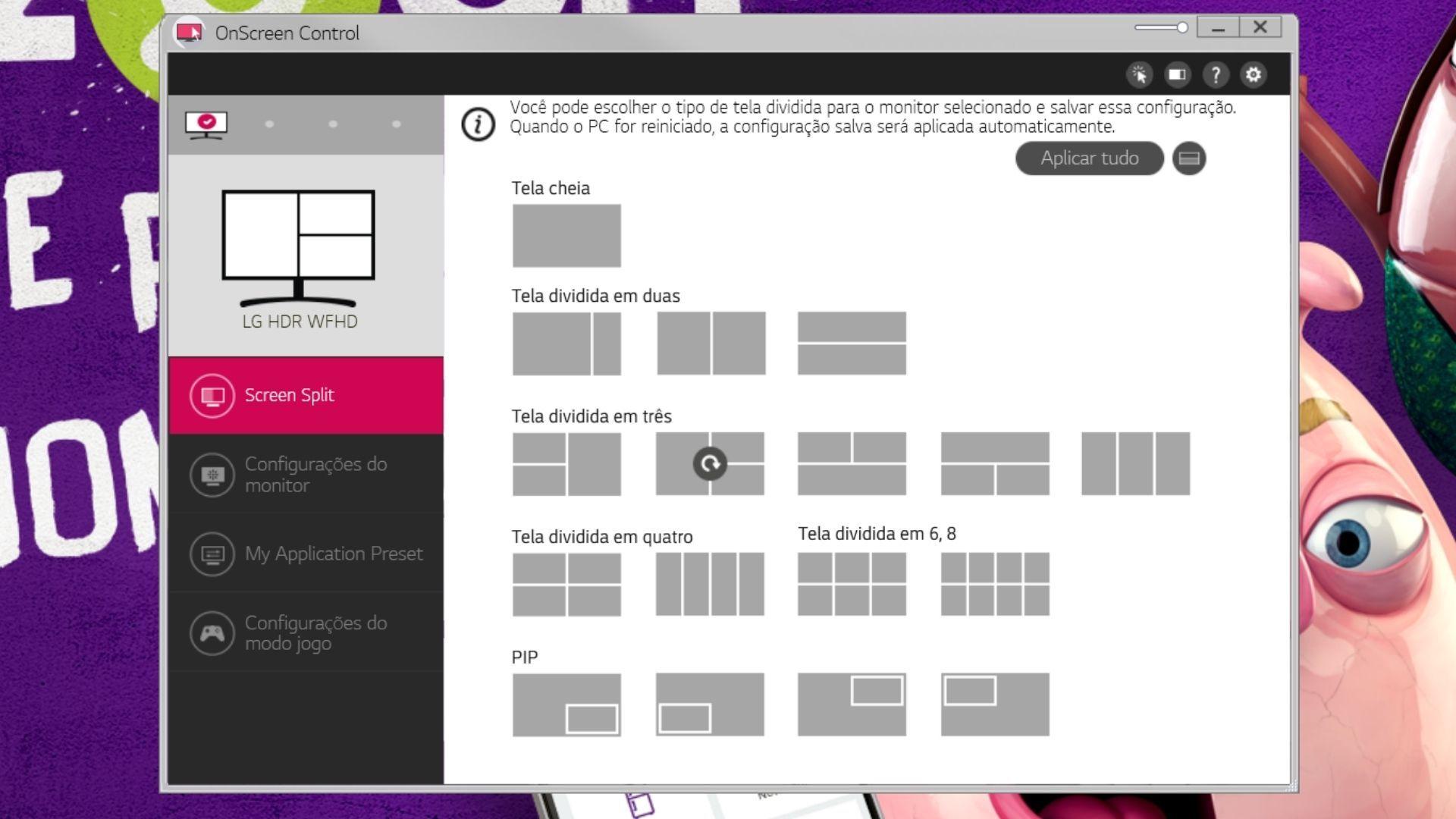 No OnScreen Control, o usuário tem um verdadeiro banquete de opções de divisão de tela (Reprodução: Guilherme Toscano)
