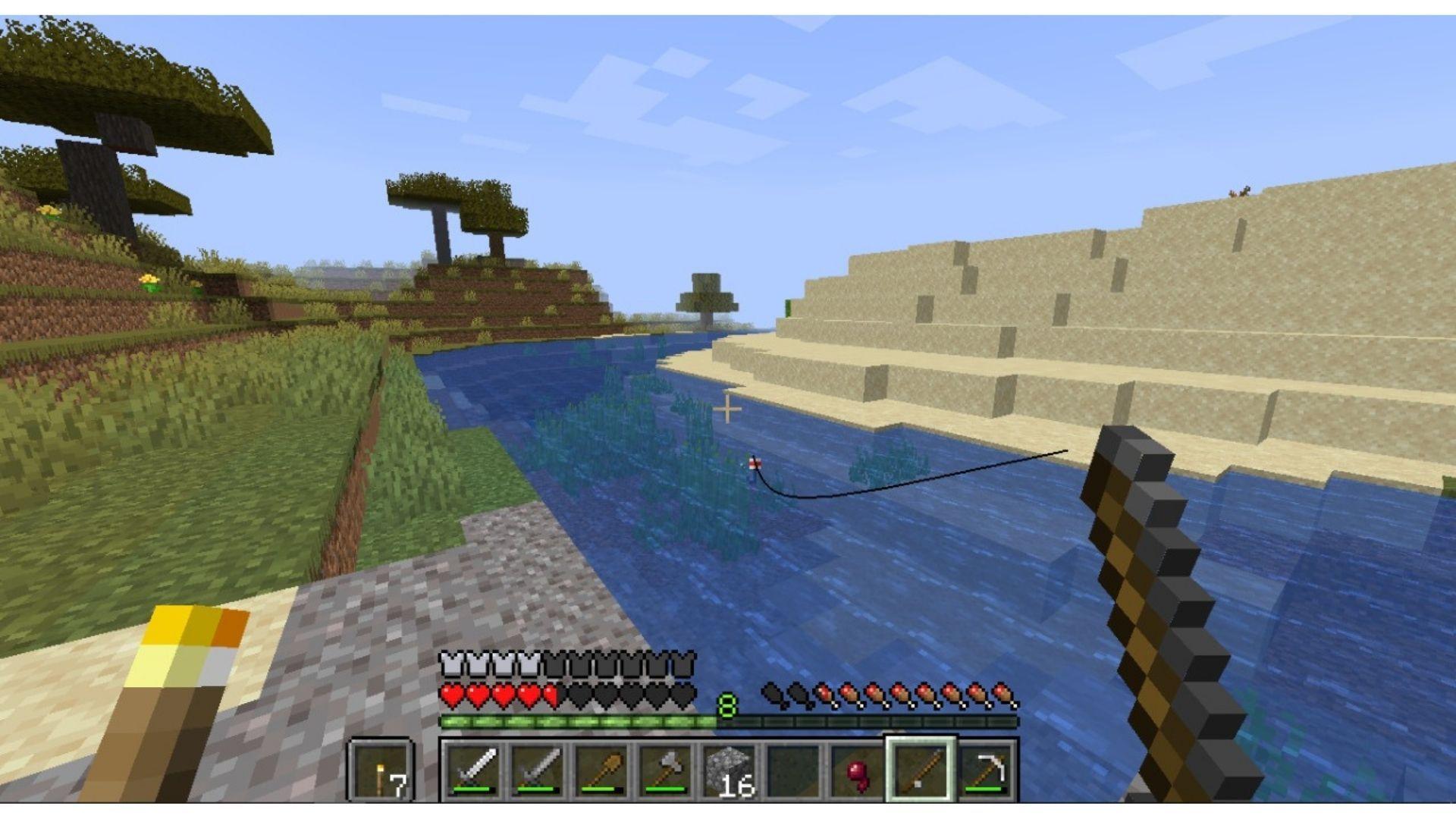 Uma das recompensas da pescaria no Minecraft são as selas para cavalo (Foto: Reprodução/Úrsula Gomes)