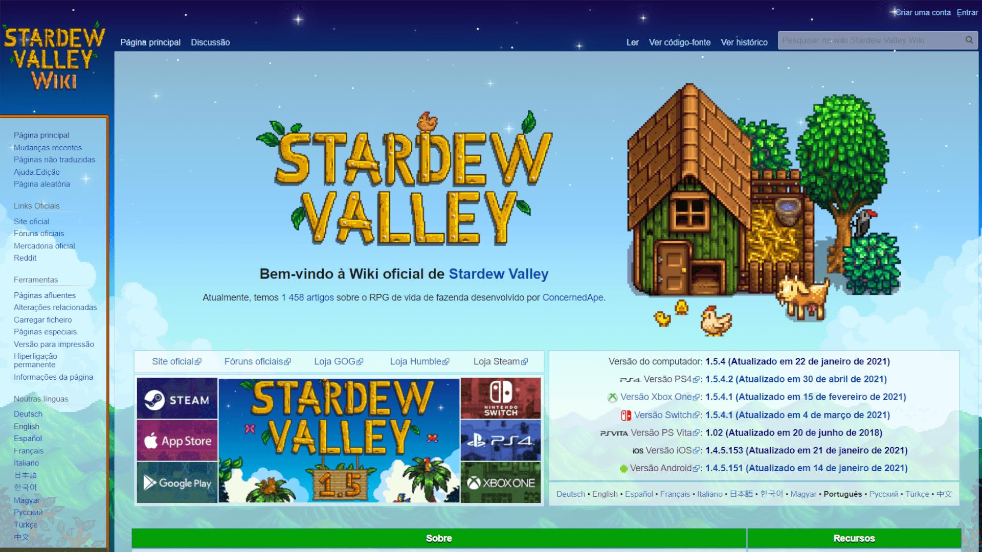 Stardew Valley Wiki é o guia completo do jogo mantido pela própria comunidade de jogadores (Foto: Reprodução/Stardew Valley Wiki)