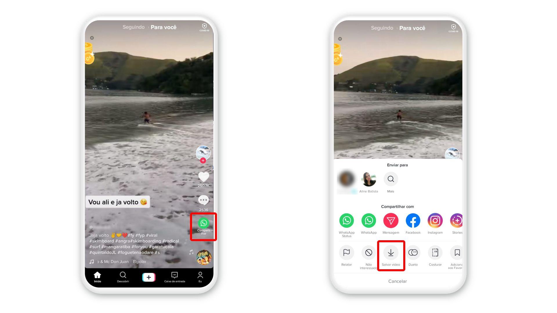 O próprio aplicativo oferece recurso para baixar vídeo do TikTok (Foto: Arte/Zoom)