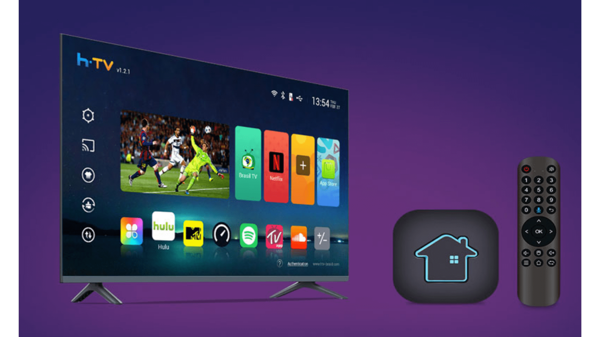 A TV Box da HTV tem sistema operacional Android TV e processador avançado. (Imagem: Divulgação/HTV)
