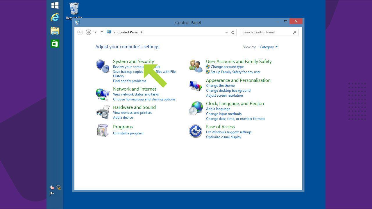 """Abra a opção de """"Sistema e Segurança"""" do Windows 8 ou se possível diretamente em """"Windows Update"""" (Reprodução: Redação Zoom)"""
