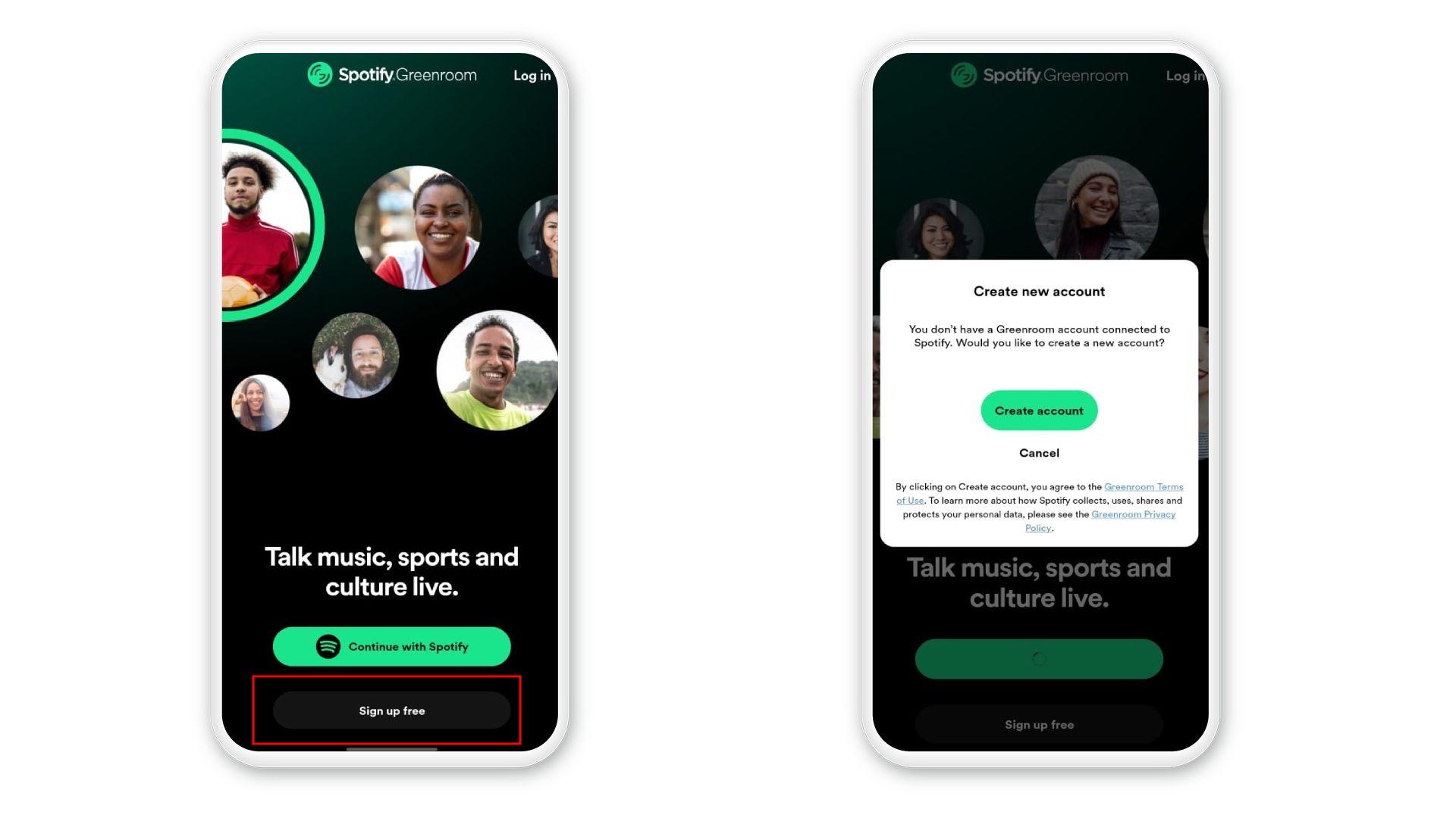 Na tela inicial do Spotify Greenroom, é possível criar uma nova conta ou logar com conta do Spotify existente (Foto: Reprodução/Zoom)