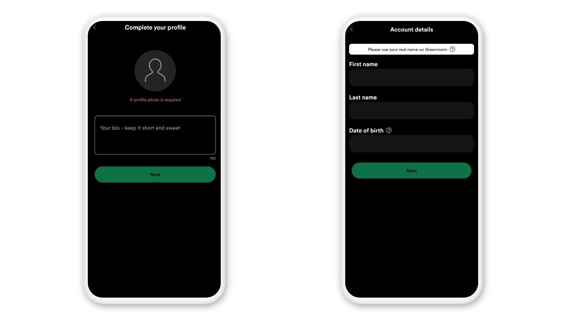 Para criar perfil no Spotify Greenroom, coloque alguns dados e a foto (Foto: Reprodução/Zoom)