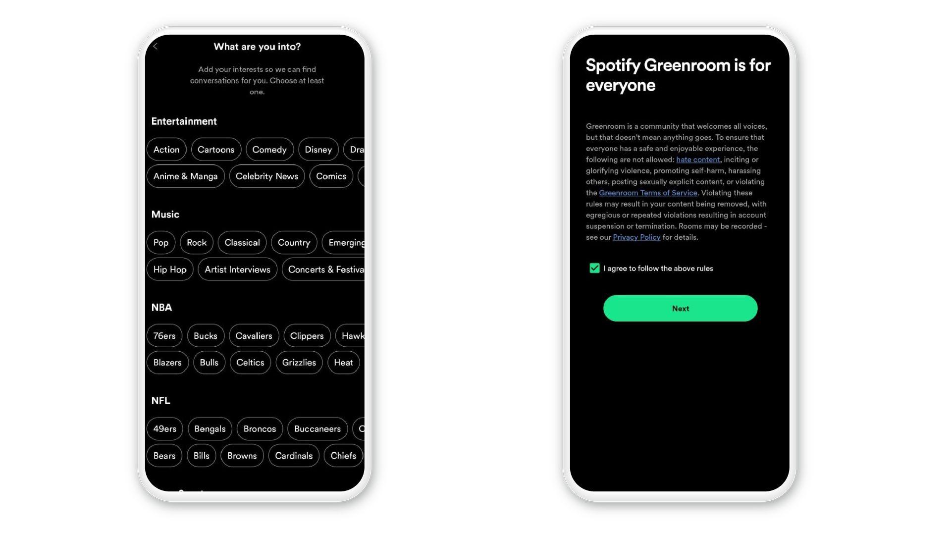 Para finalizar o cadastro, selecione suas preferências e confirme os termos de condição do Spotify Greenroom (Foto: Reprodução/Zoom)