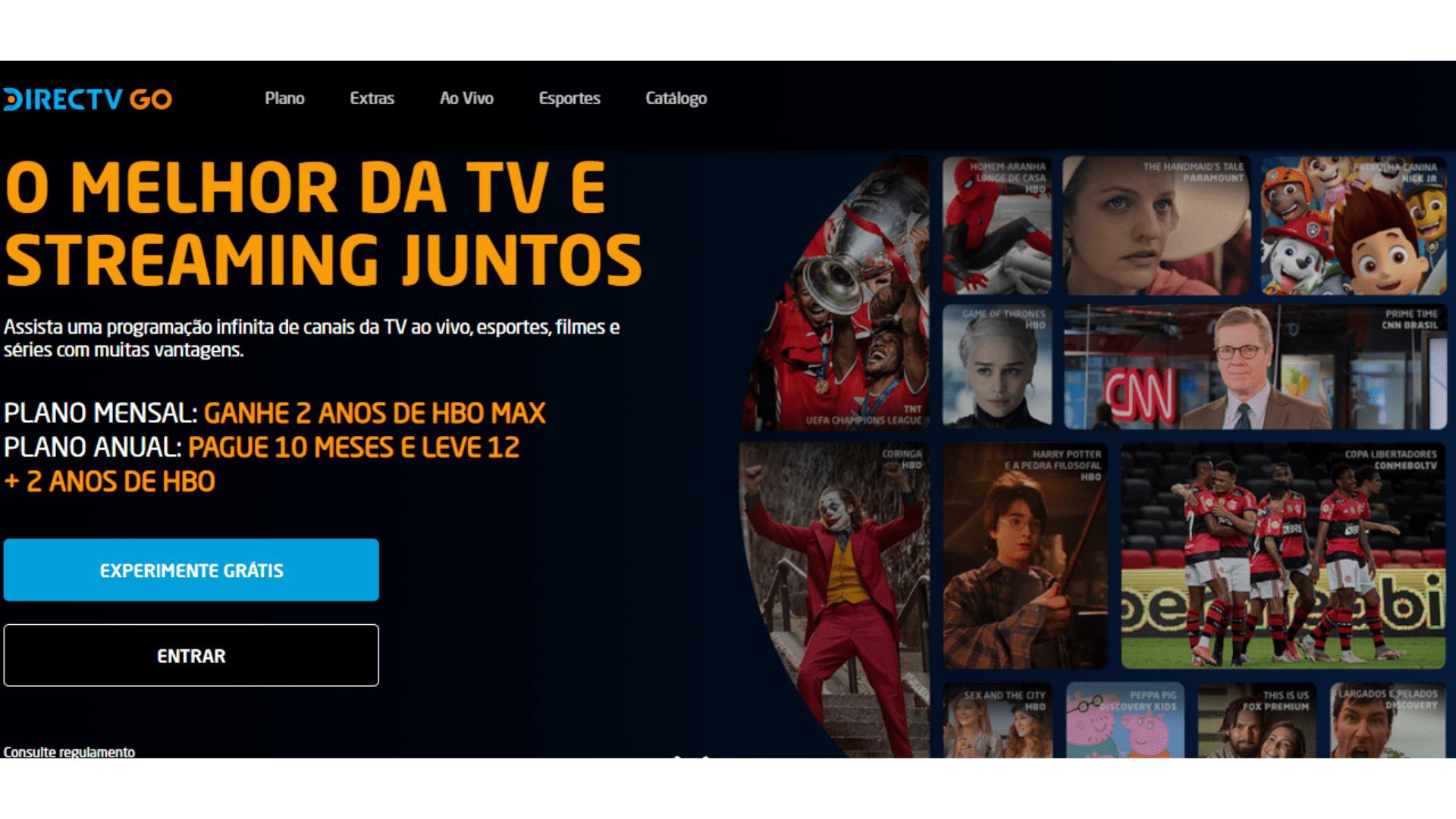 O DirecTV Go oferece transmissão ao vivo de canais populares. (Imagem: Captura de tela/DirecTV Go)