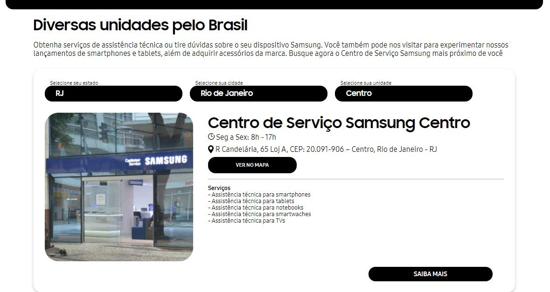 Indique seu Estado e cidade para ver a lista das unidades dos centros de assistência técnica Samsung disponíveis onde mora (Fonte: Reprodução/Samsung)