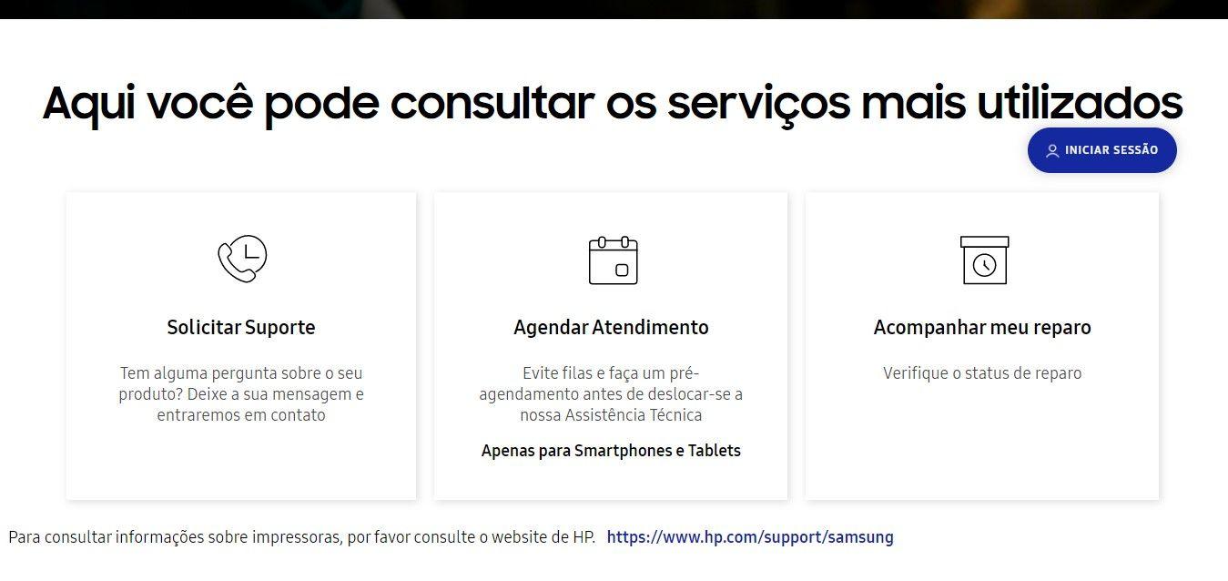 Na página Your Service, você pode agendar atendimento presencial e até mesmo acompanhar o estado atual de um serviço em andamento (Fonte: Reprodução/Samsung)
