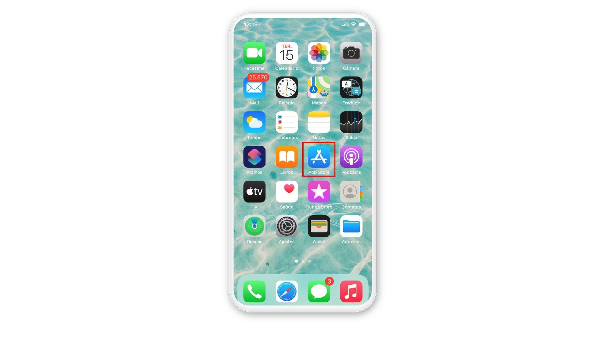 Localize a App Store na tela inicial (Foto: Arte/Zoom)