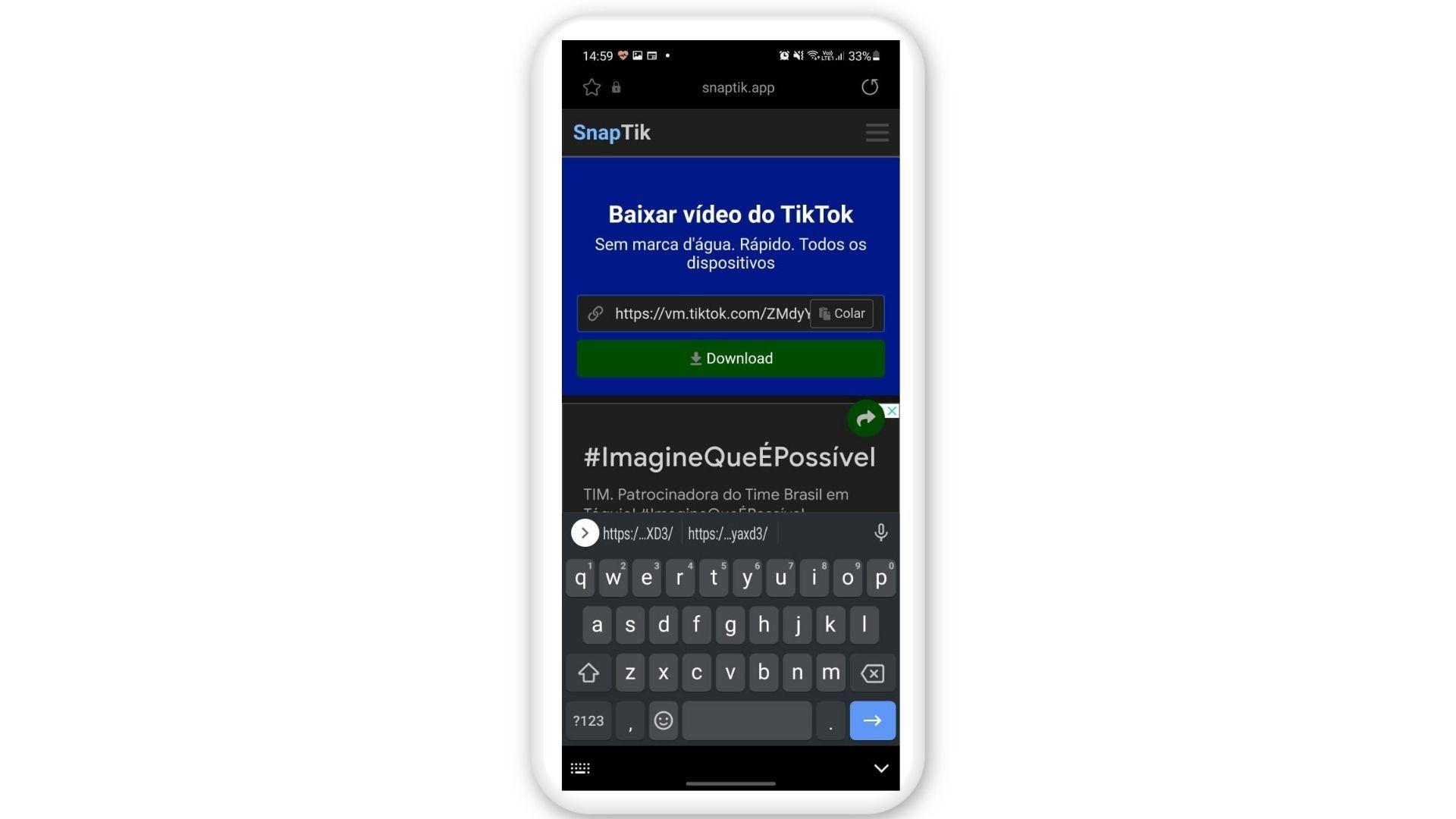 Baixar vídeo do TikTok: Cole o link e clique em download (Foto: Reprodução/SnapTik)