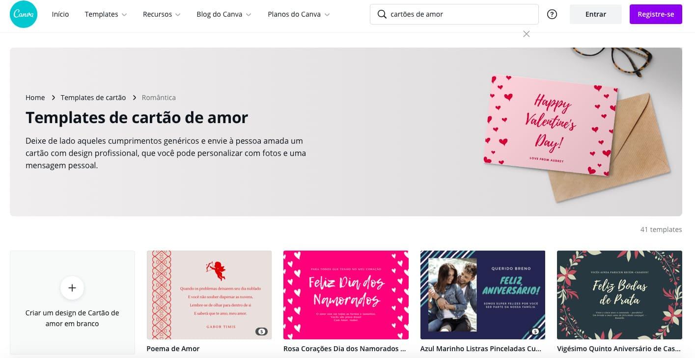 """Clique na opção """"cartões de amor"""" (Reprodução: Zoom)"""