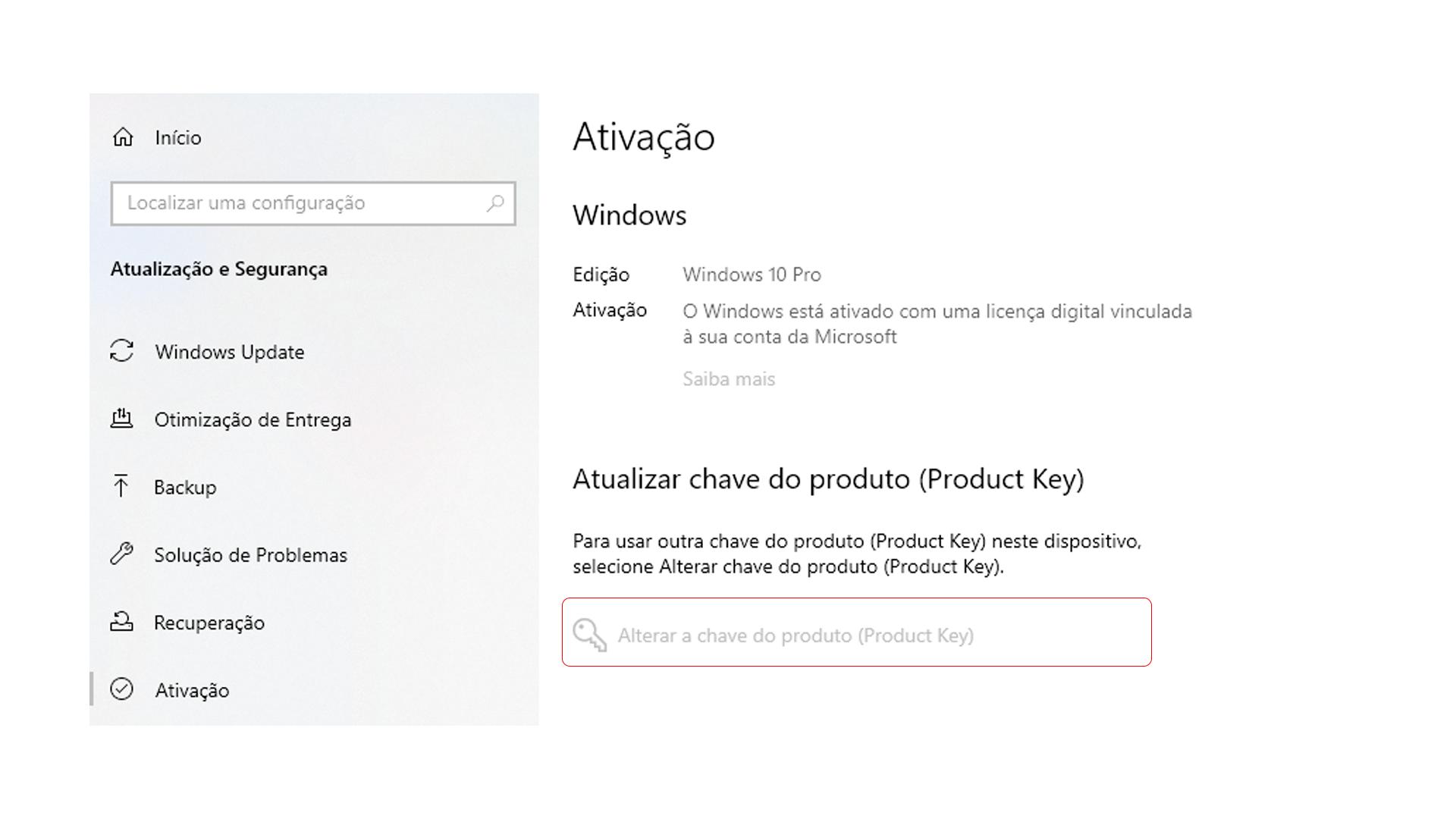 """Clique sobre """"Alterar a chave do produto (Product Key)"""" para inserir a nova chave (Foto/Hugo Iwaasa)"""