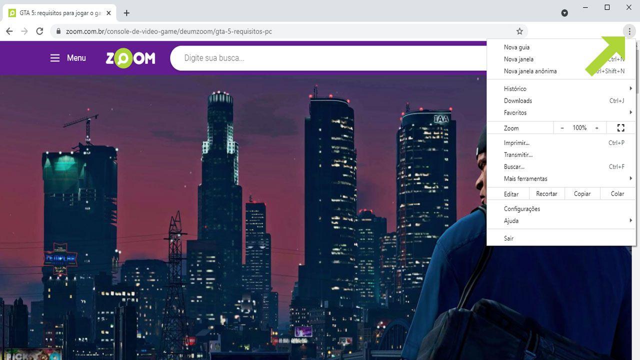 Abra o menu do Google Chrome ao clicar nos três pontos no canto superior direito da tela (Reprodução: Redação Zoom)