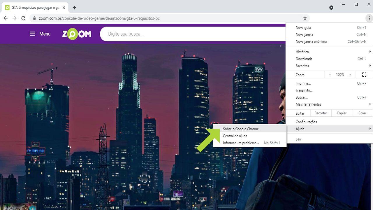 """Selecione a parte """"Ajuda"""" no menu e clique na opção """"Sobre o Google Chrome"""" (Reprodução: Redação Zoom)"""