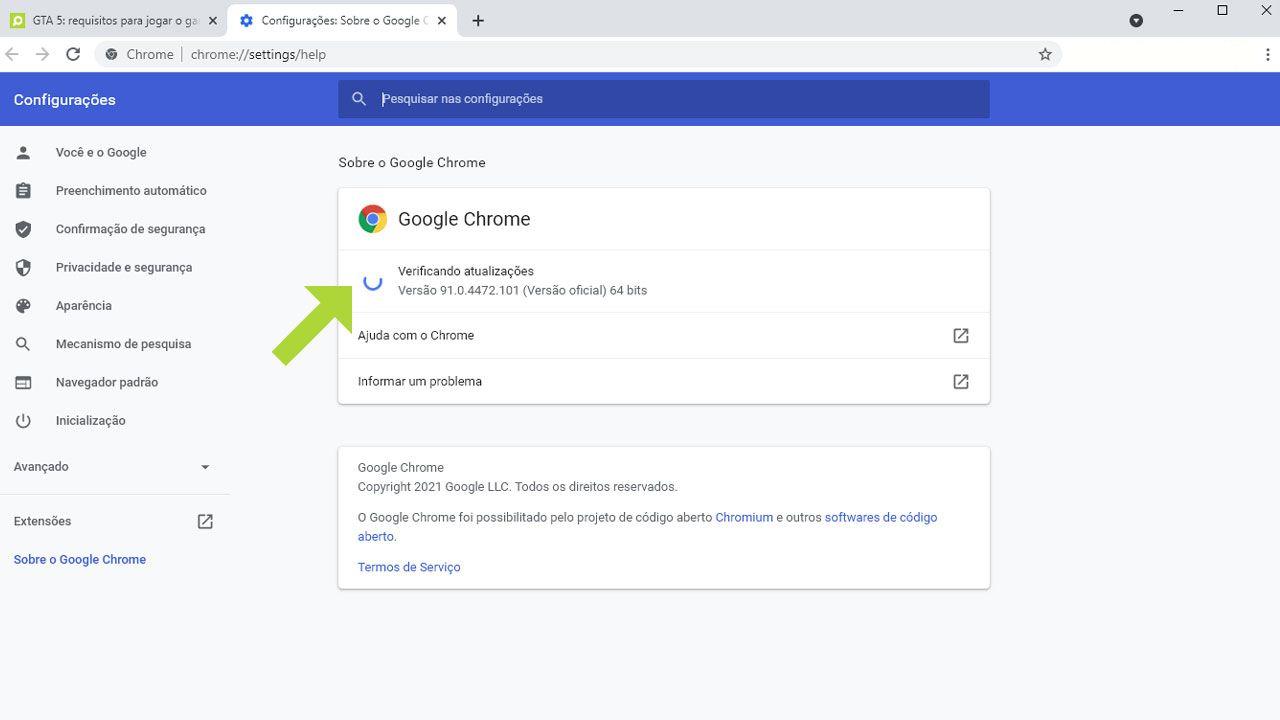 """No """"Sobre o Google Chrome"""" a atualização será realizada automaticamente (Reprodução: Redação Zoom)"""